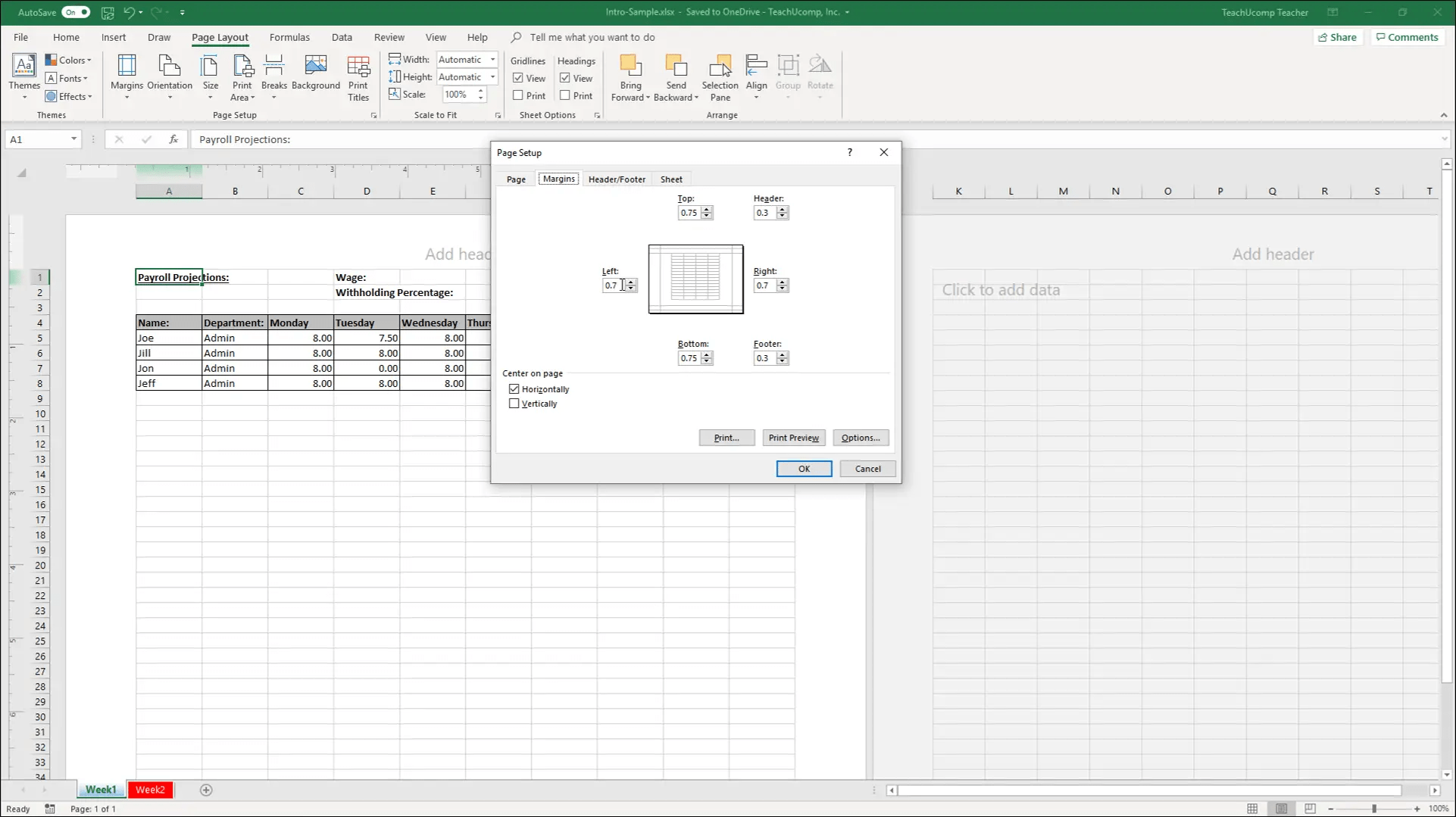 Set Margins In Excel