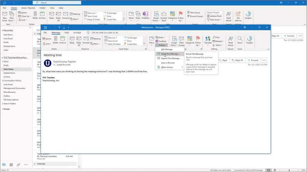 Recall a Message in Outlook - Instructions and Video Lesson