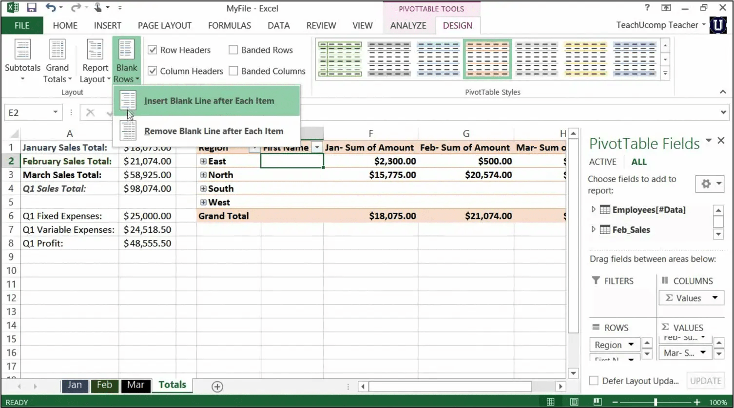 Format A Pivottable In Excel Tutorial