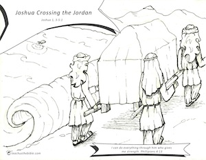 Coloring Pages Of Joshua Crossing The Jordan River
