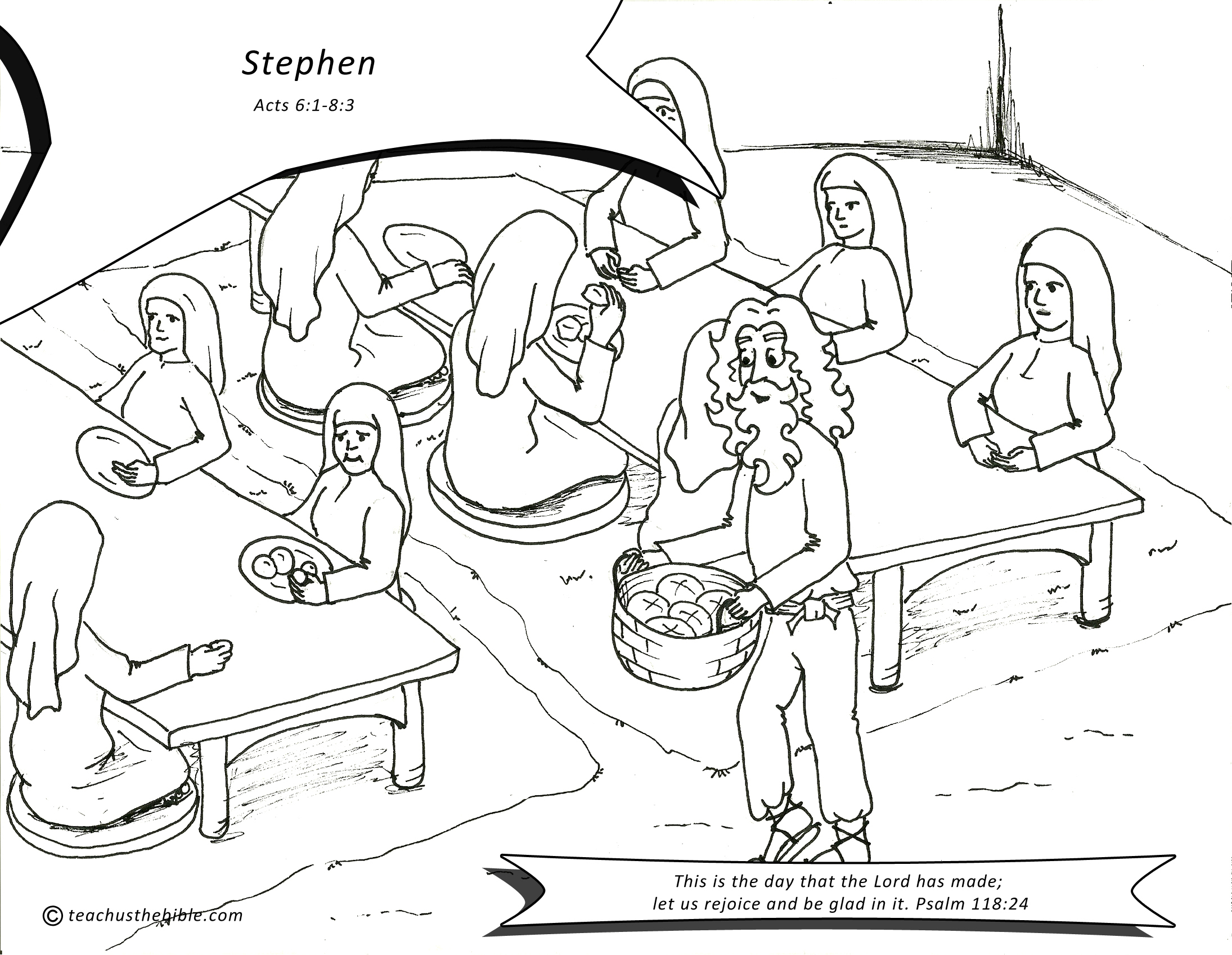 Stephen Bible Coloring Page Sketch Coloring Page