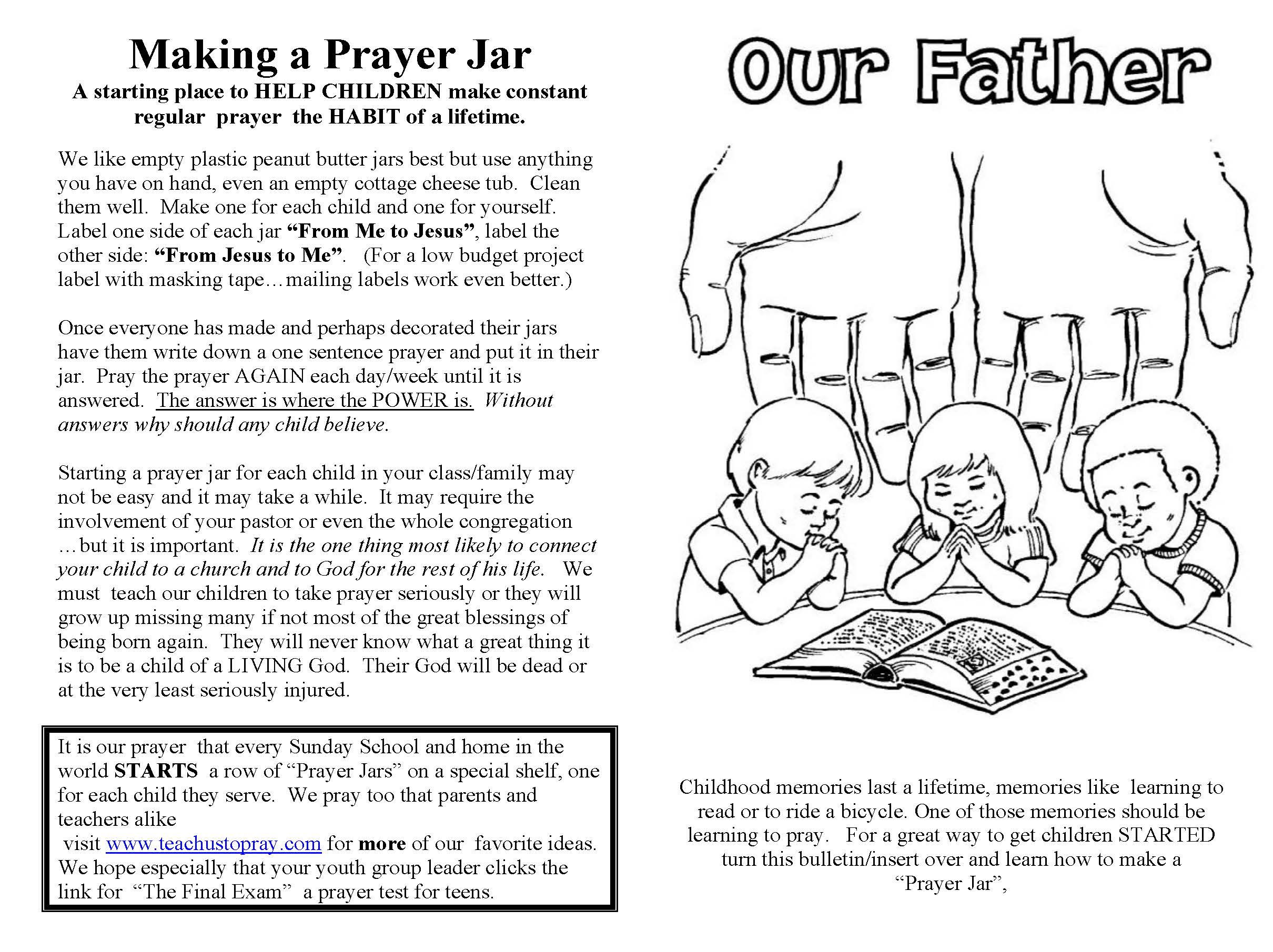 The Lord S Prayer For Children Printable Prayer Helps For