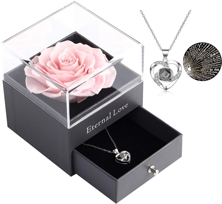 real rose and necklace gift