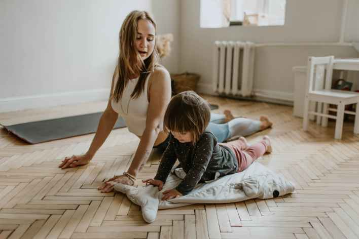 Woman trains with her daughter