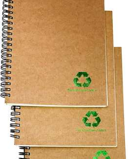 Set of 3 Eco-Friendly A5 Spiral Lined Notebook | Made from 100% Recycled Paper | 240 Pages | Field Notes Notebook