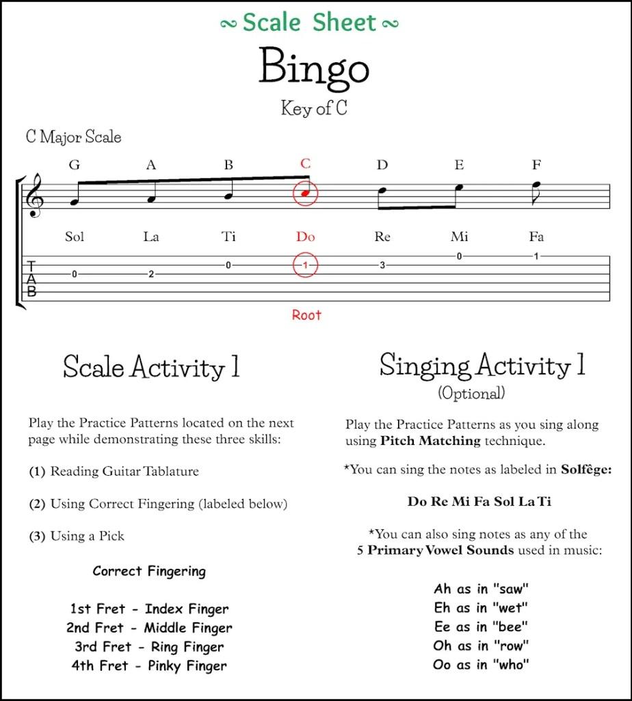 Bingo Scale Sheet Page 1