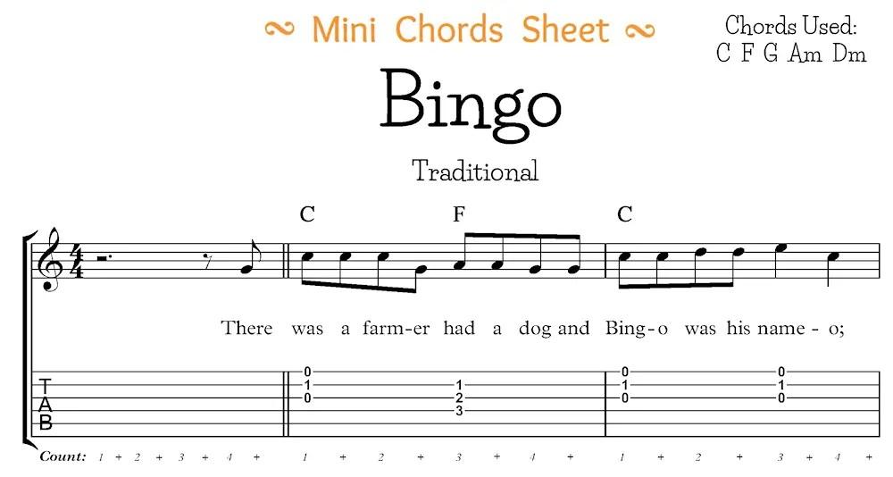 Bingo Mini Chord Sheet Segment