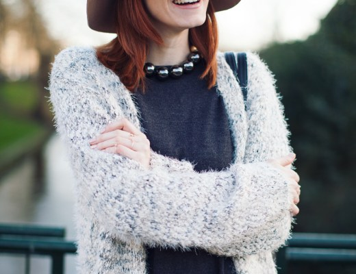 Fuzzy cardigan and fedora