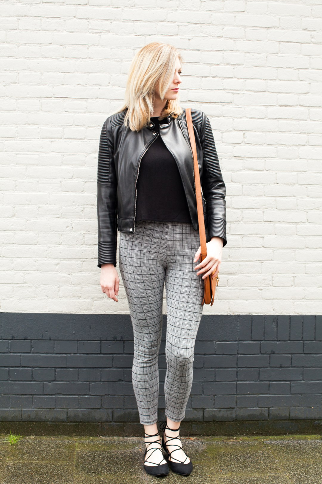 Black and white outfit. Open shoulder top + gingham pants + lace up flats