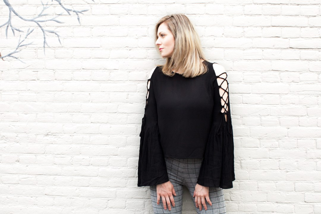Lace up open shoulder top with bell sleeves