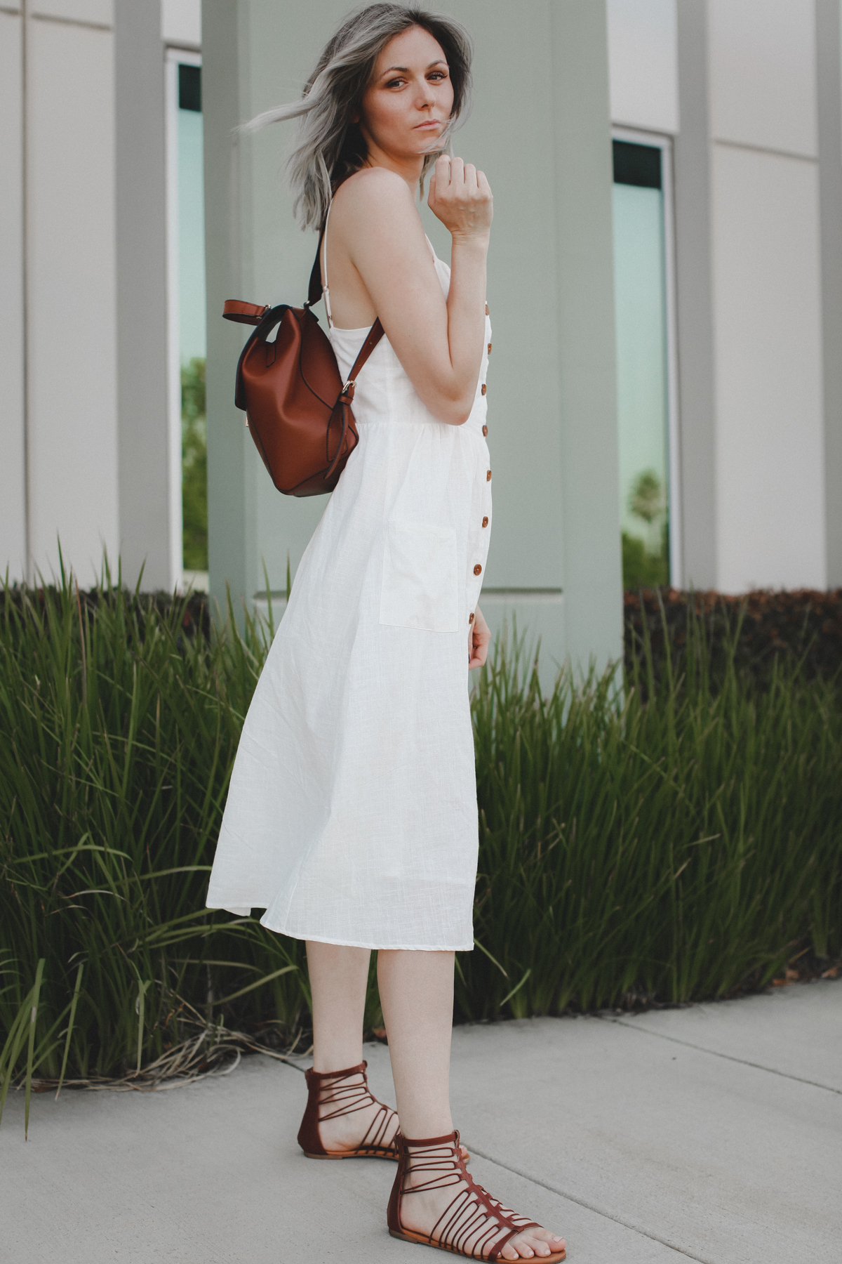 Midi Dress with White Cups