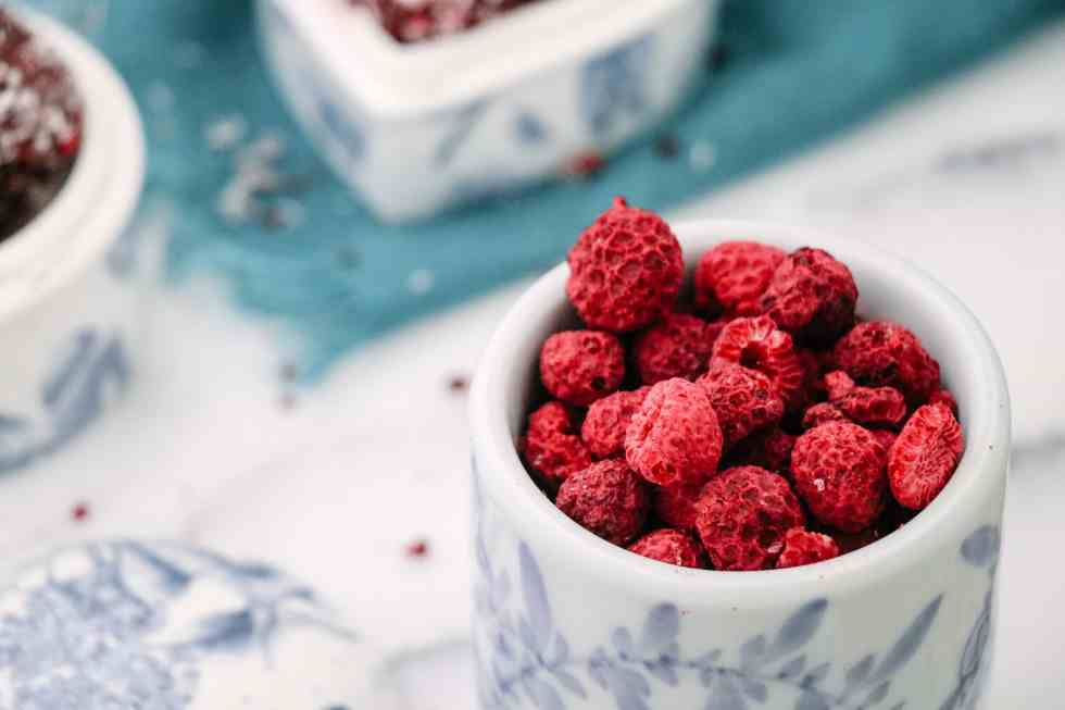 Freeze-Dried Raspberries for Coconut Raspberry Cacao Bliss Balls