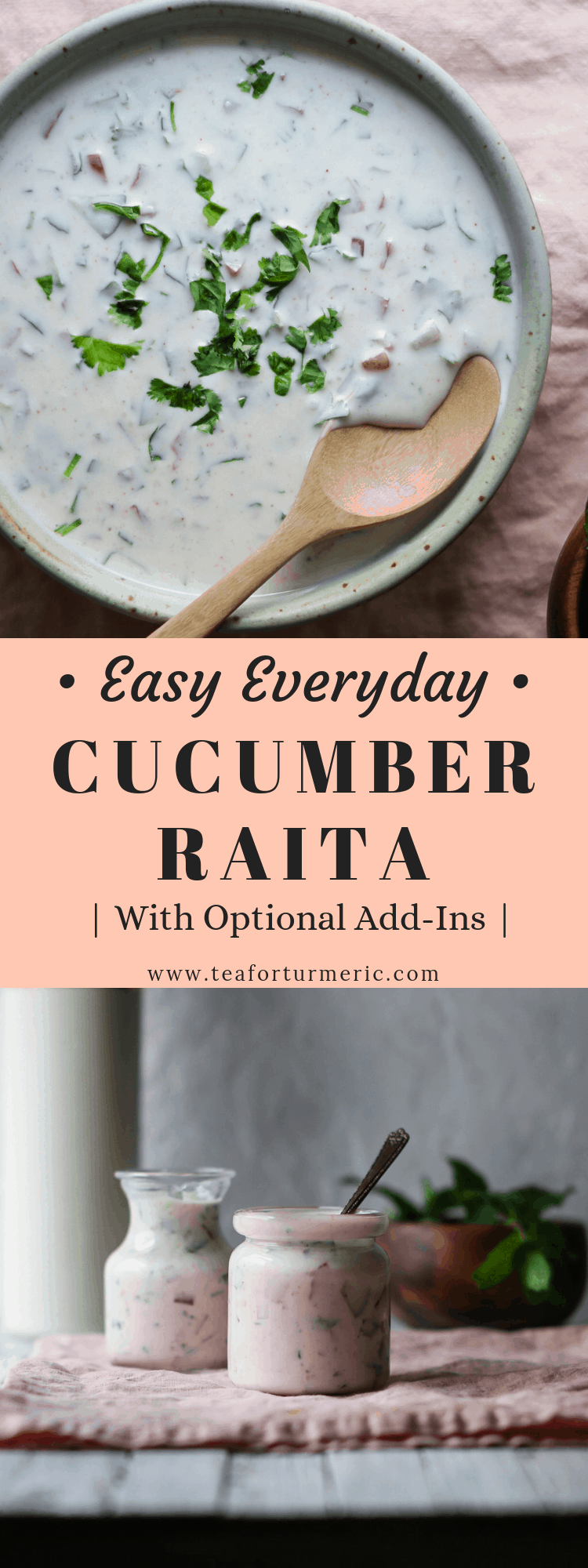 Raita is a classic yogurt salad that completes many a Pakistani and Indian meal. Here's basic, everyday cucumber raita I've grown up with. It's an easy recipe that can be whipped up in minutes with ingredients you likely have on hand. I've also included optional add-ins to give you an idea of the endless possibilities.  This is a recipe for an everyday cucumber raita, a cool and refreshing yogurt salad that pairs perfectly with biryani, pulao, and many other Pakistani and Indian di...
