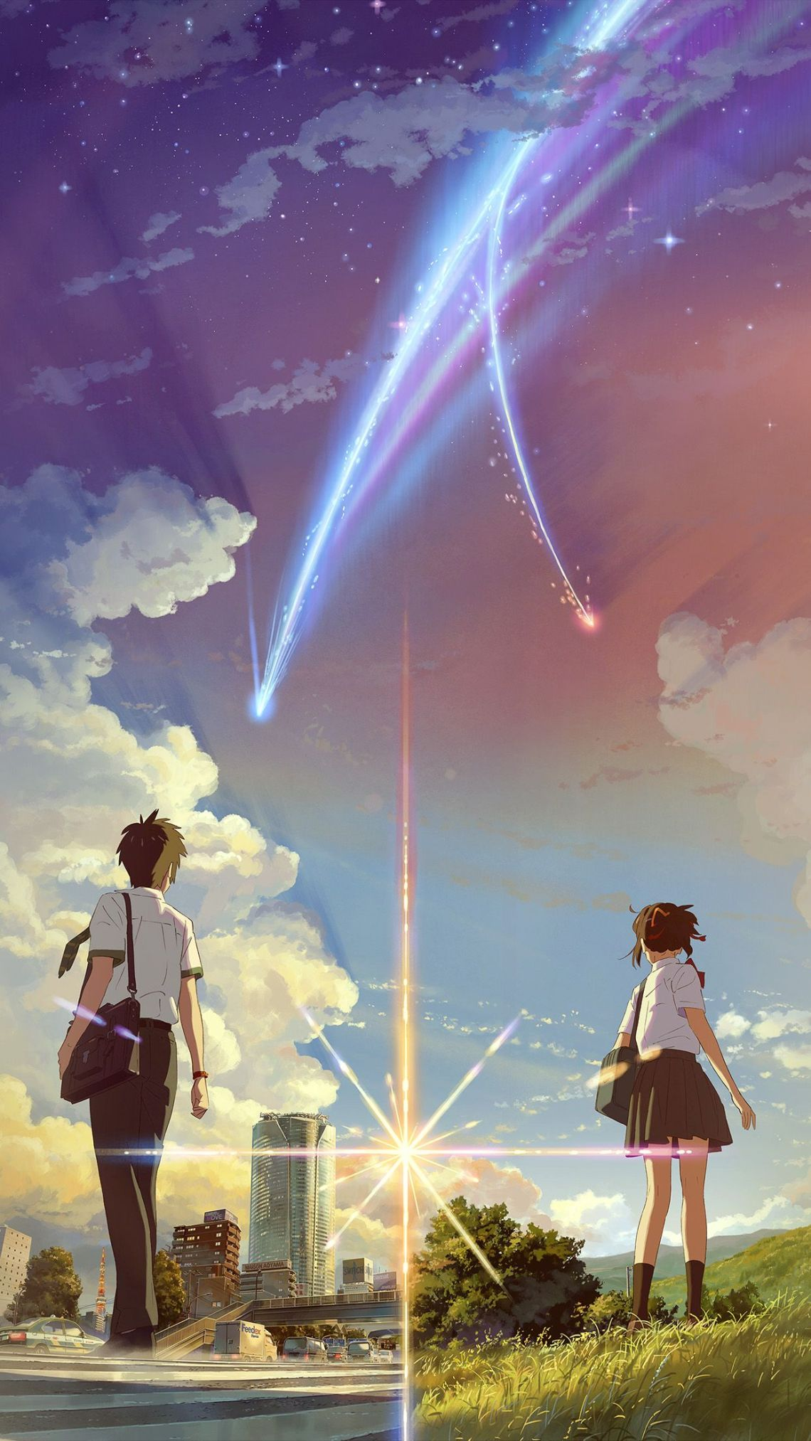 Boy And Girl Anime Art Spring Cute Flare Android Wallpaper Your Name Wallpaper Smartphone 1242x2208 Wallpaper Teahub Io