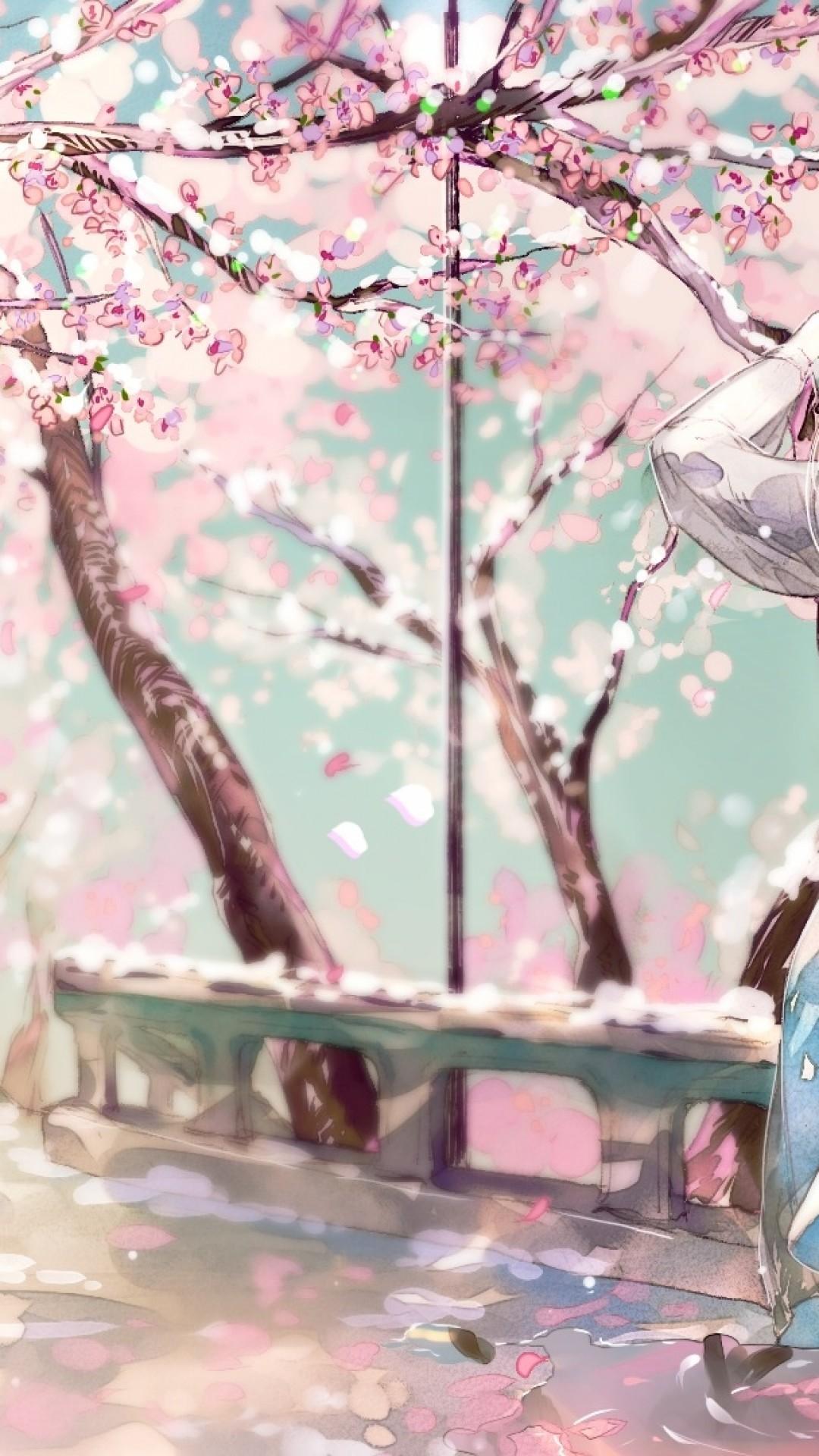 Cherry Blossom Sakura Anime Girl Back View Cherry Blossom Sakura Wallpaper Iphone 1080x1920 Wallpaper Teahub Io