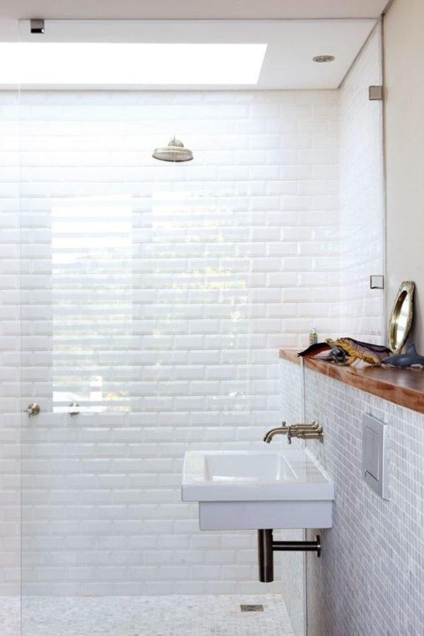 white textured subway tile shower