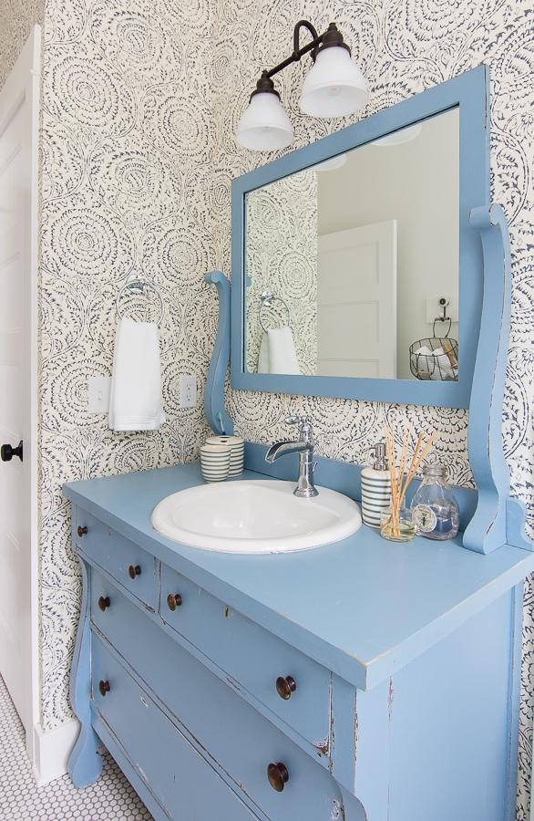 Blue White Floral Wallpaper Blue Kids Bathroom Vanity Bathroom Blue Kids 586x900 Wallpaper Teahub Io