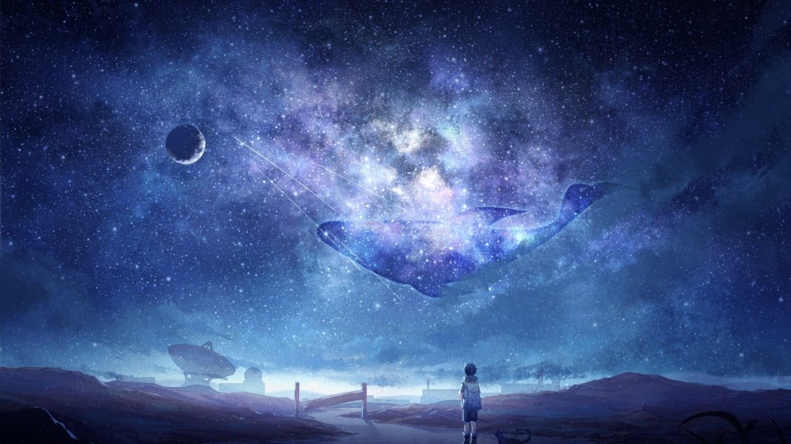 Anime Sky Milky Way Stars Anime Boy Dog Moon Galaxy Wallpaper For Laptop Anime 1920x1080 Wallpaper Teahub Io