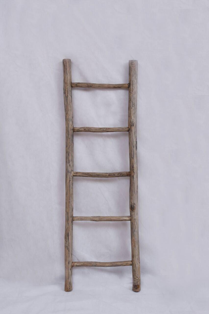 Houten decoratie ladder  150 x 50 x 5 cm  Rustiek bruin
