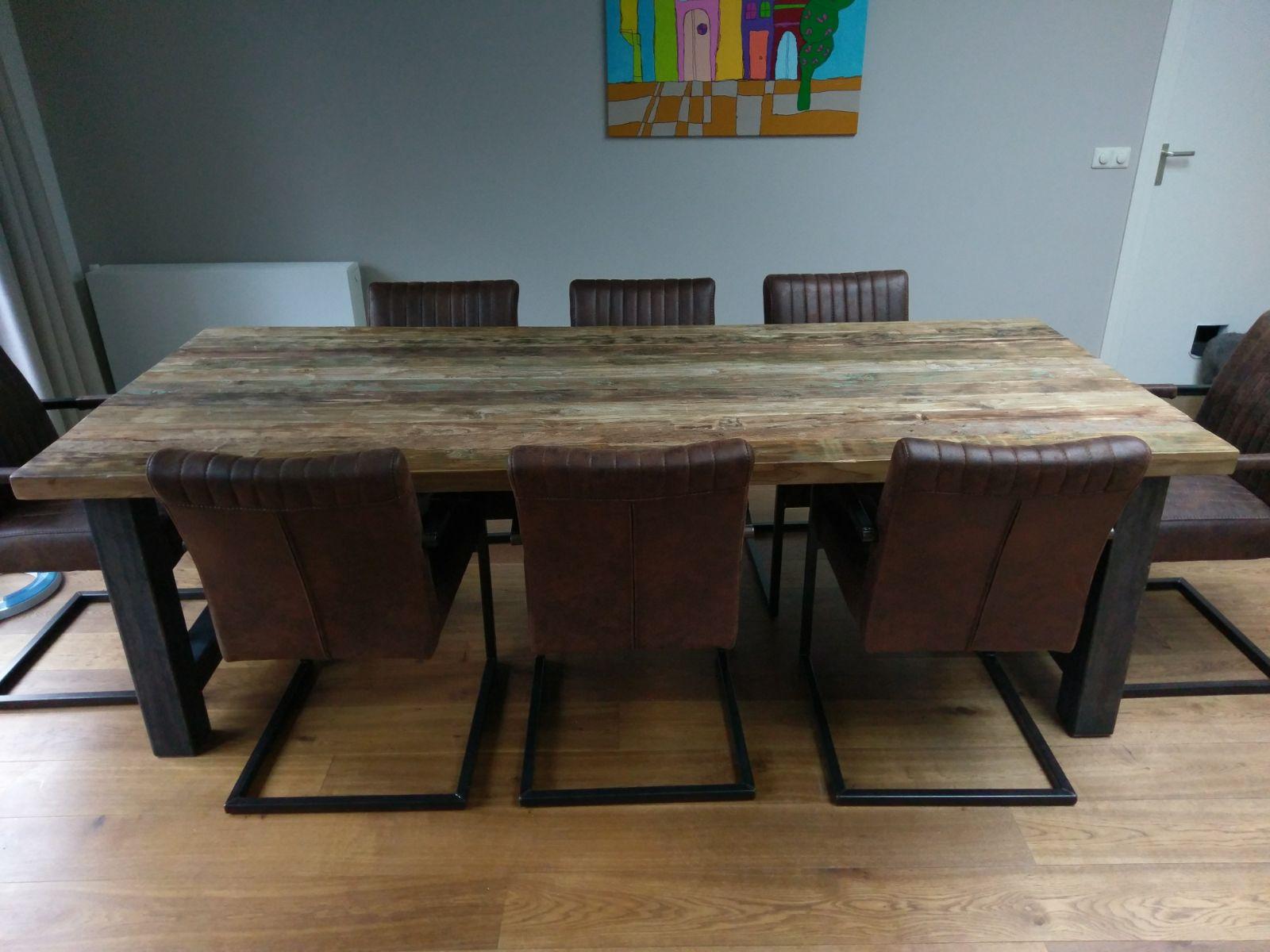 Grof houten tafel 240cm  Specialist in Teak Maatwerk