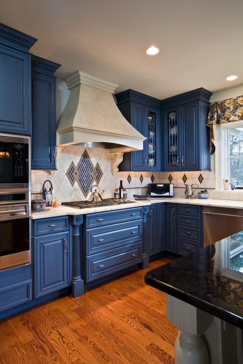 Painted Blue Millwork Kitchen Design Teakwood Builders