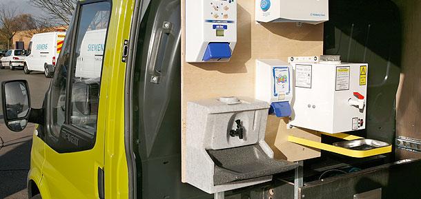 Mobile sinks for vans and trucks