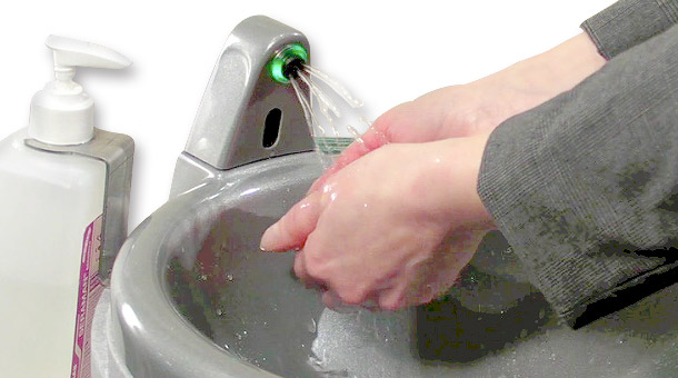 Hand washing with portable sinks in the workplace