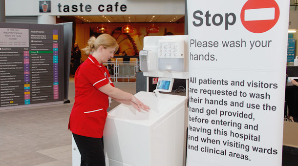 Portable sinks for hand washing in hospitals