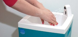 Hot water hand washing for mobile caterers
