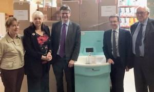 Caroline Spelman, Greg Clarke and Andy Street view the MediWash