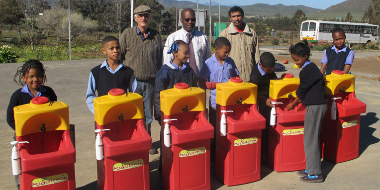 Mobile sinks for handwashing at Africa Health
