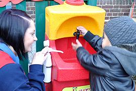 Portable Teal sinks for preschool and nursery