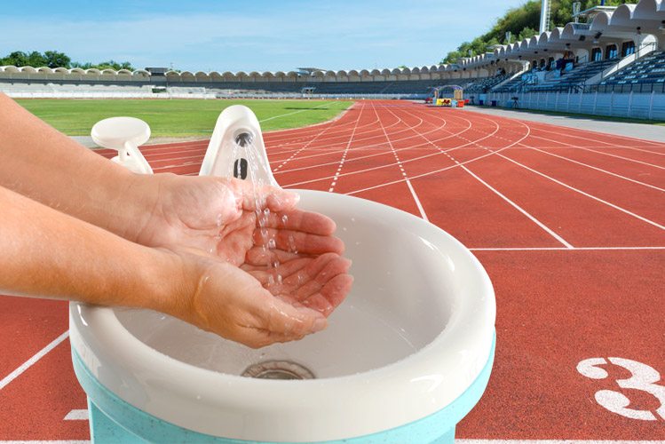 Portable handwashing units can be used for all athletics meetings