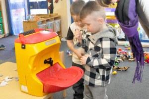 Teaching hand washing to children is a worldwide effort