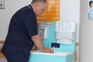 Portable handwashing facilities for hospital visitors