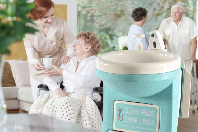 Teal portable handwash unit is perfect for care homes