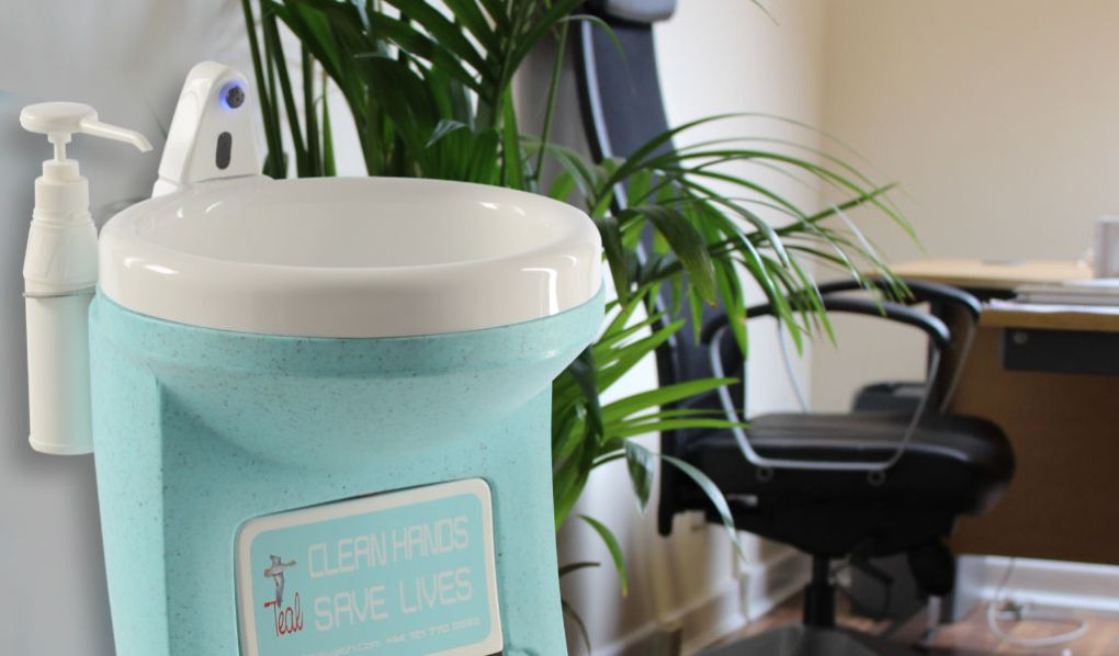 Teal Hygienius portable handwash unit in the worplace