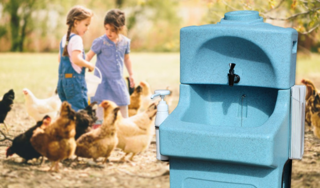 A KiddiSynk mobile handwash unit can be used outdoors