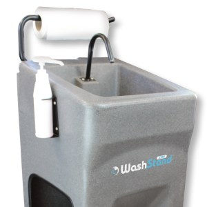 The WashStand Xtras robust handle also serves as a paper towel holder