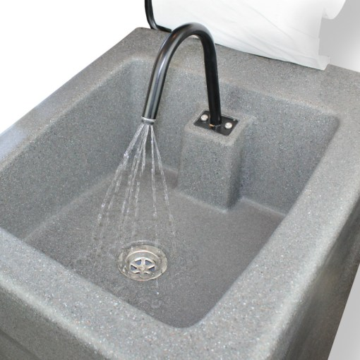 Water on the WashStand Xtra is activated by a footpump