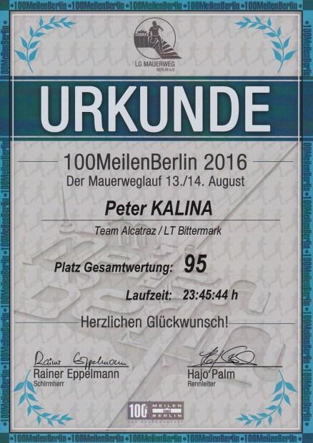 Mauerweglauf 2016 Urkunde