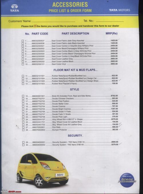 small resolution of tata nano official accessories list team bhp rh team bhp com car stereo wiring diagram car amp wiring diagram