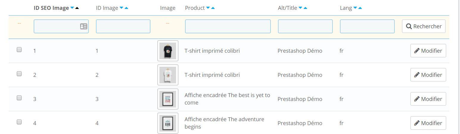 Prestashop SEO gratuit : module pour alt images produits