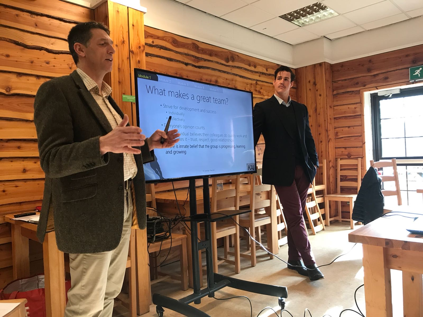 Tim Thurston Team-i Trainer and Ollie Atkins Exeter Chief and Team-i trainer present training session at Cotswold Farm Park with Adam Henson and his team
