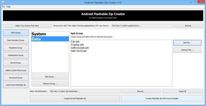 Android Flashable ZIP Creator