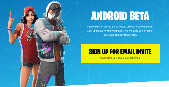 Sign Up for Fortnite Android Beta