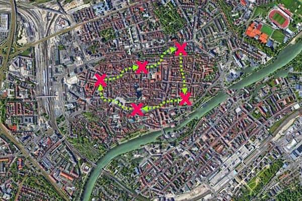Sinnbildliche Darstellung der City-Challenge in Ulm
