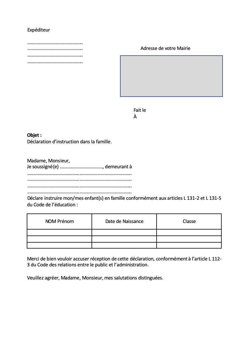 instruction en famille modèle de lettre Mairie