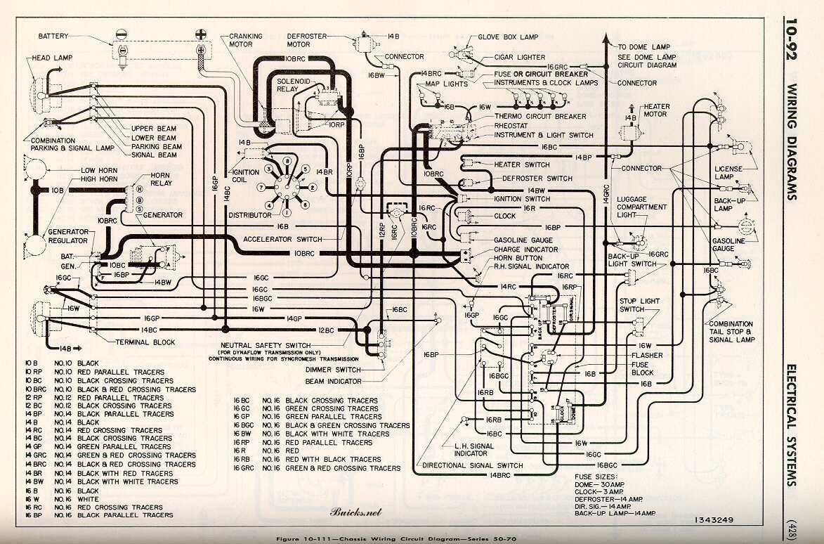 hight resolution of 1952 buick chassis wiring circuit diagram series 50 70