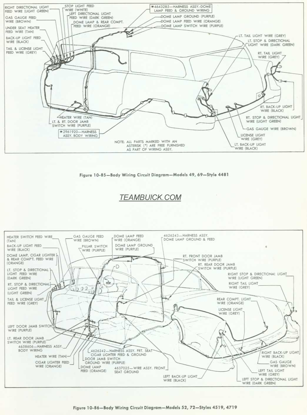 1955 Buick Body Wiring Diagrams, Model 46, 69, 52, 72